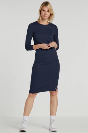jersey jurk Fryda met contrastbies donkerblauw
