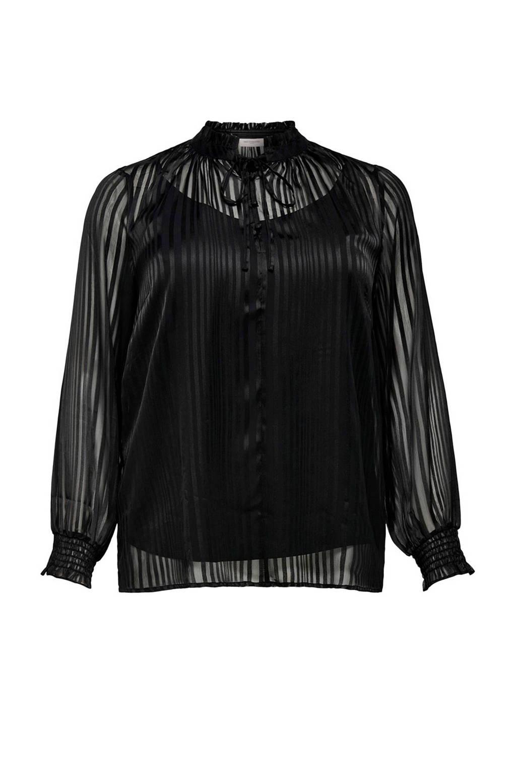 ONLY CARMAKOMA gestreepte semi-transparante top zwart, Zwart