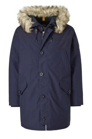 +size winterjas donkerblauw