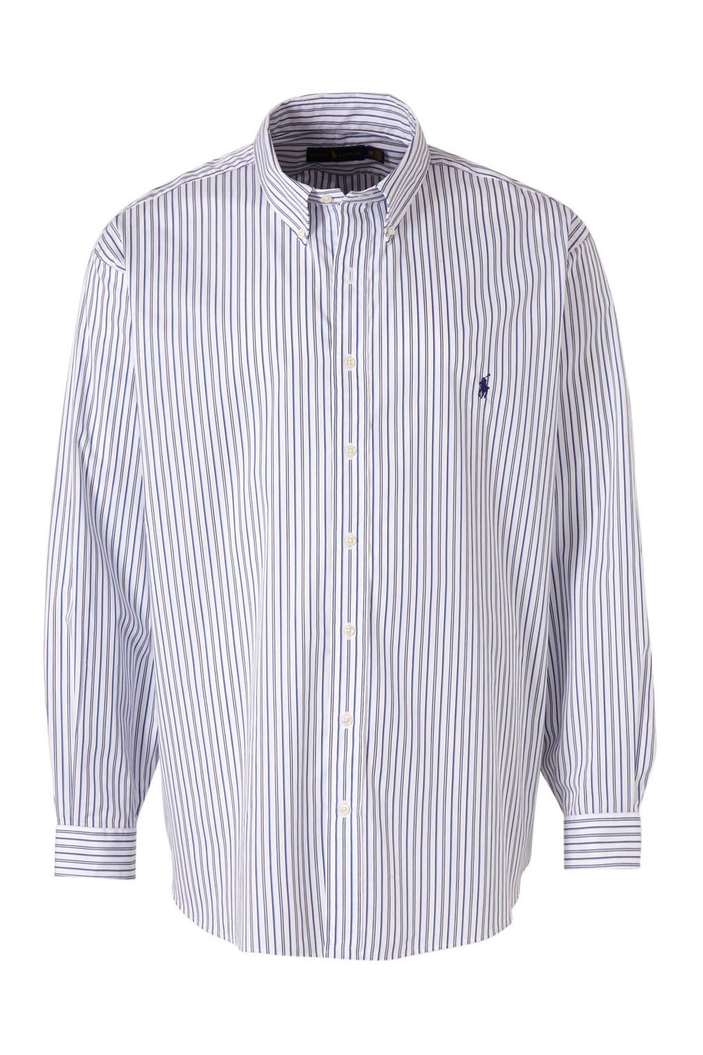 POLO Ralph Lauren Big & Tall +size gestreept regular fit overhemd blauw/wit, Blauw/wit