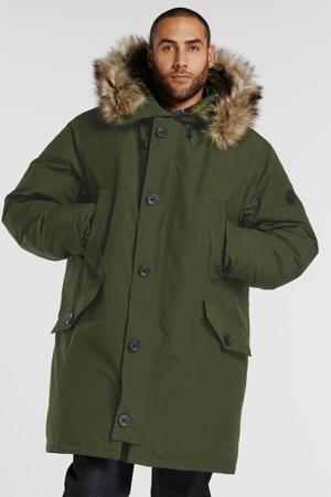 +size winterjas donkergroen