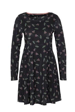 gebloemde velours jersey jurk Laurel zwart/groen/roze