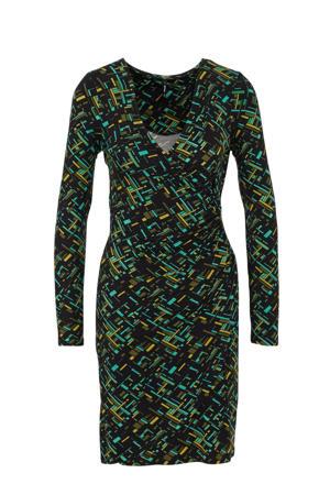 overslagjurk Avelina met all over print zwart/groen/blauw