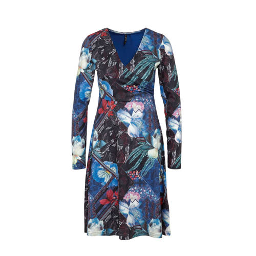 Smash overslagjurk Lovelina met all over print blauw multi