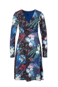 Smash overslagjurk Lovelina met all over print blauw multi, Blauw multi