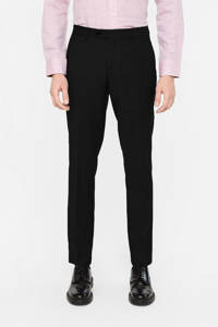 WE Fashion slim fit pantalon met wol black uni, Black Uni