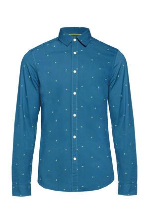 slim fit overhemd met all over print petrol blue