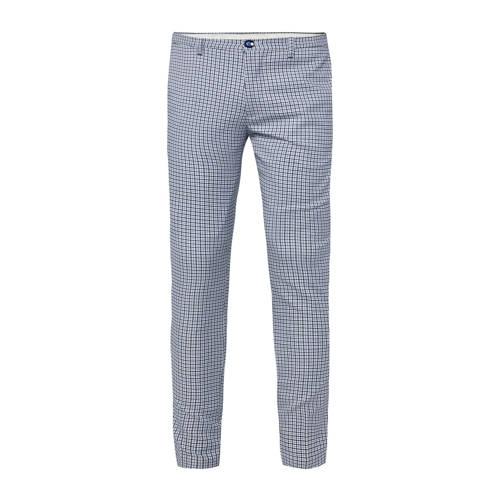 WE Fashion geruite slim fit pantalon royal navy
