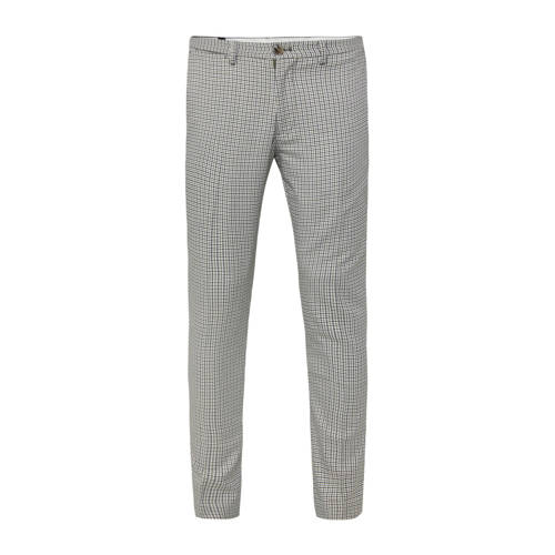 WE Fashion geruite slim fit pantalon olivine