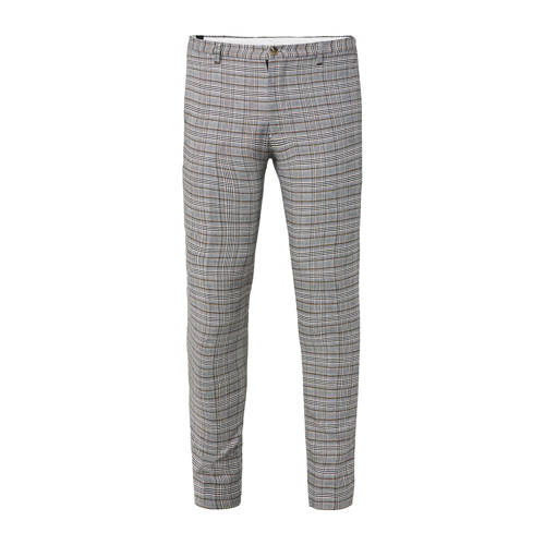 WE Fashion geruite slim fit pantalon dark grey