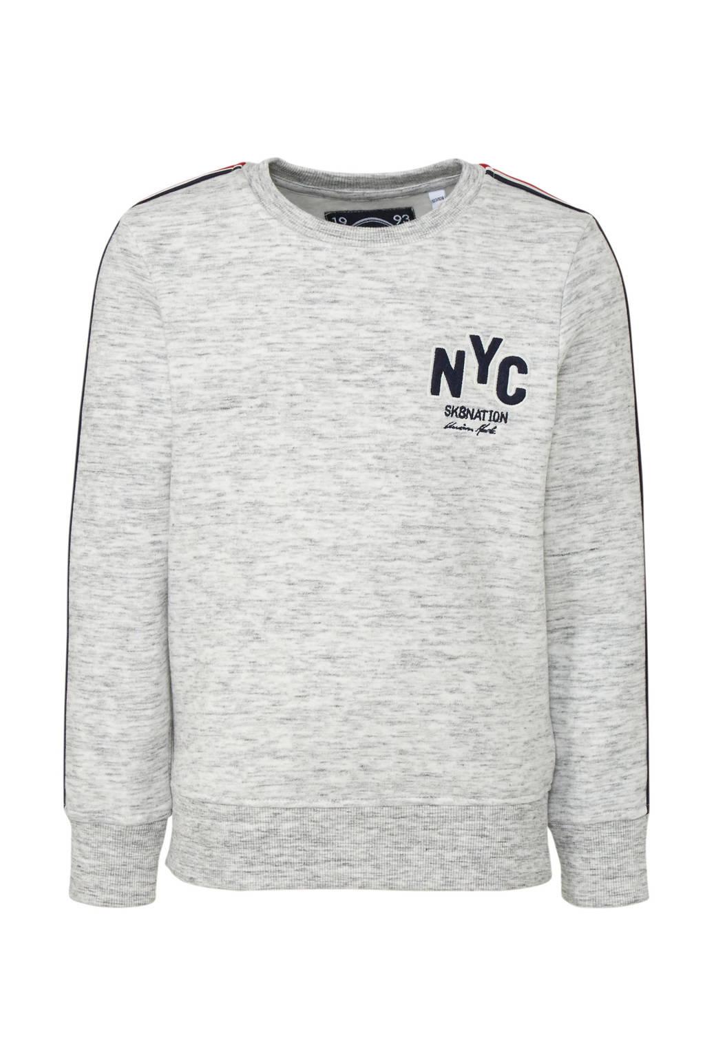 C&A Here & There sweater met contrastbies en borduursels ecru melange