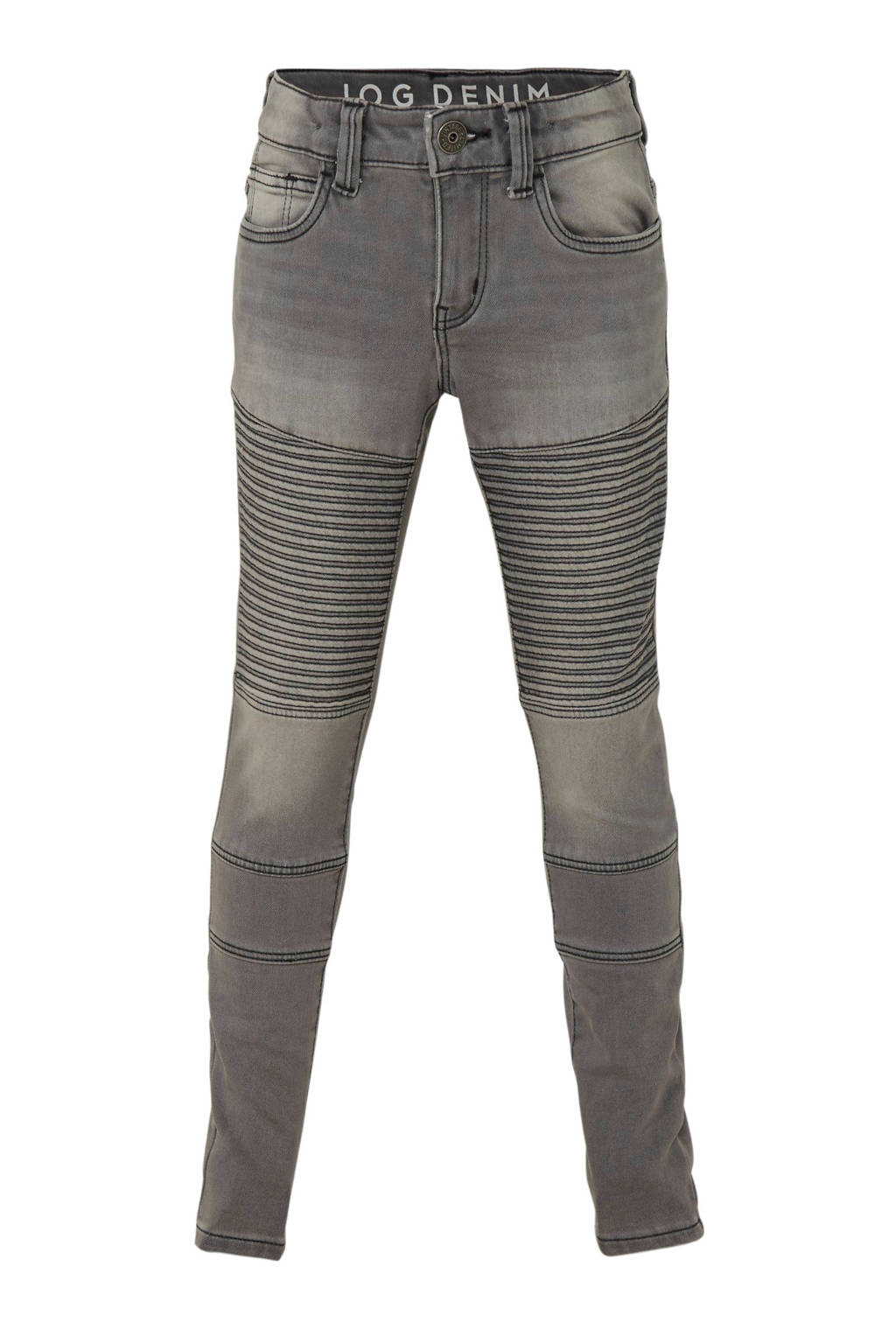 C&A The Denim slim fit jeans met textuur, Grijs