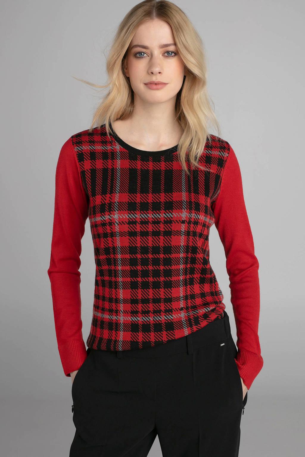 Claudia Sträter geruite fijngebreide trui met wol rood, Rood