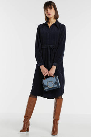 corduroy blousejurk met ceintuur donkerblauw