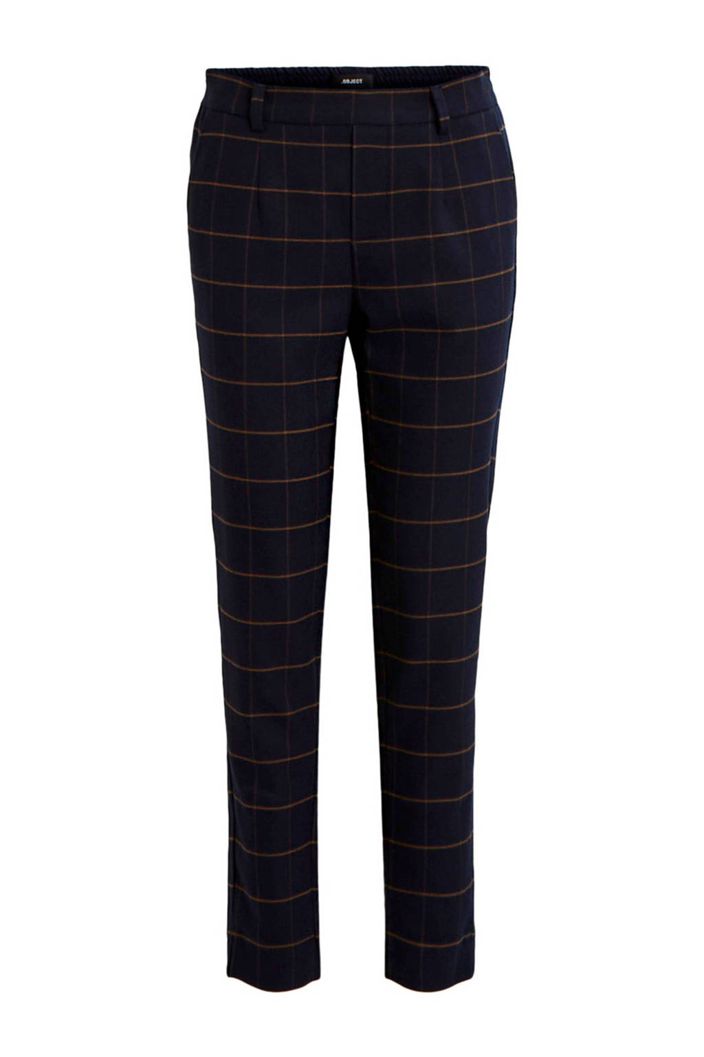 OBJECT geruite regular fit broek donkerblauw, Donkerblauw