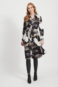 OBJECT blousejurk met all over print en ceintuur zwart, Zwart