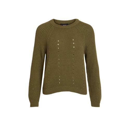 OBJECT grofgebreide trui met open detail olijfgroe