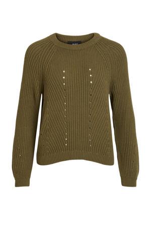 grofgebreide trui met open detail olijfgroen