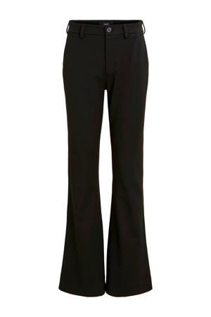 flared pantalon met krijtstreep zwart