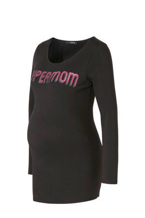 zwangerschapslongsleeve met tekst en glitters zwart/roze