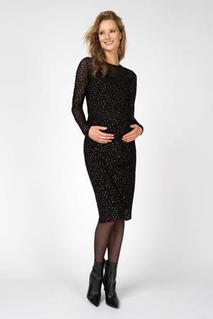 zwangerschapslongsleeve panterprint zwart/goud