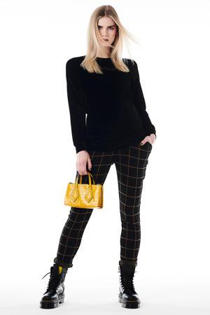 geruite high waist slim fit zwangerschapsbroek zwart/geel