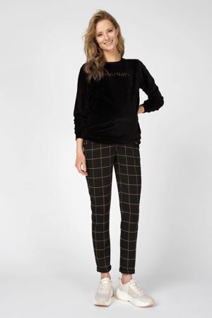 velours zwangerschapssweater met tekst zwart/goud