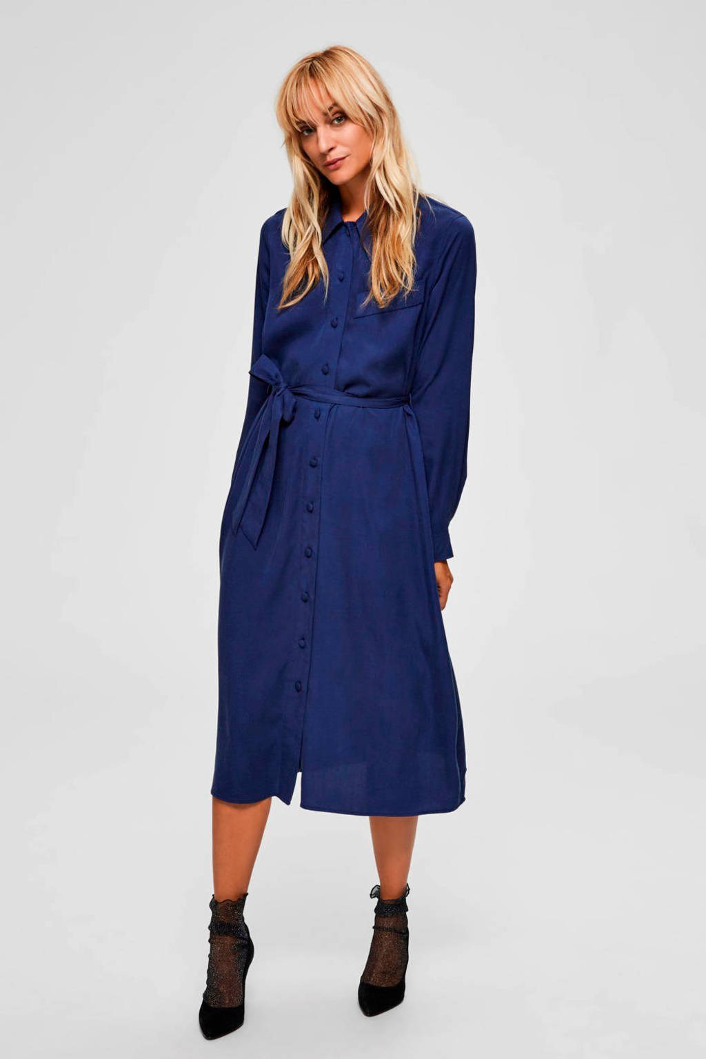 SELECTED FEMME blousejurk met ceintuur blauw, Blauw