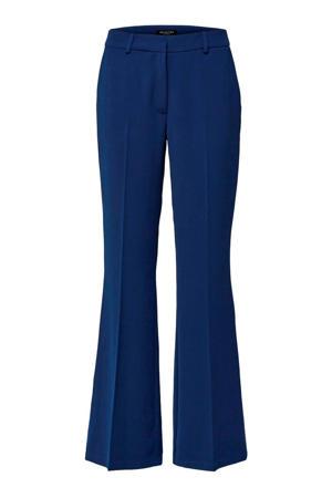 high waist flared pantalon blauw