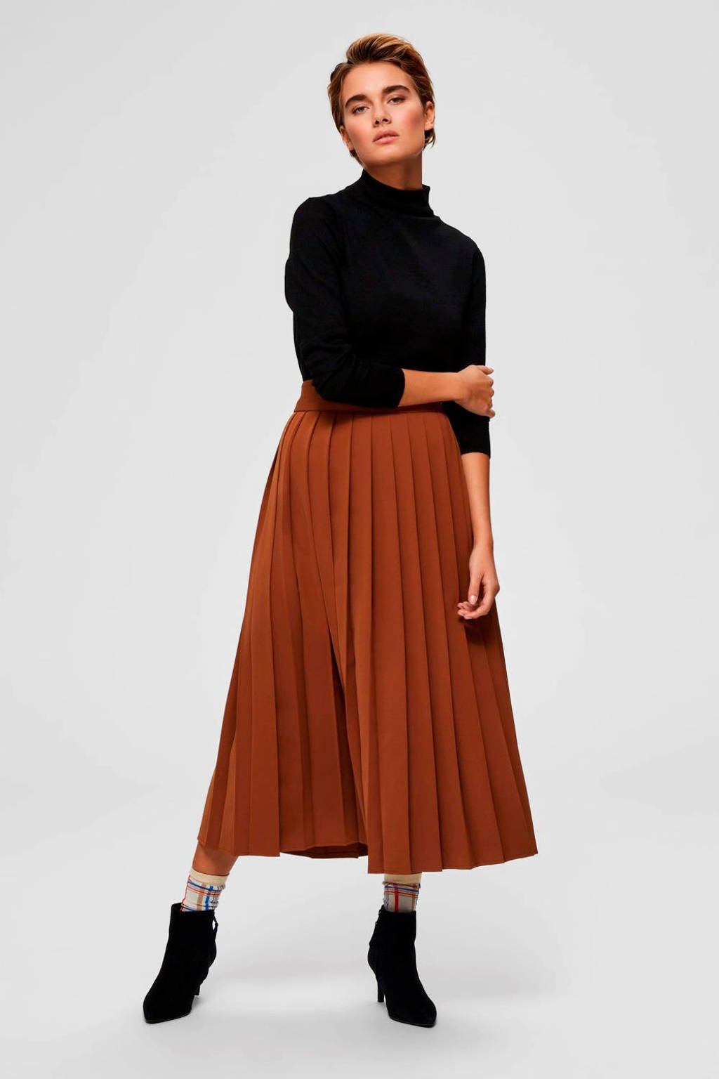 SELECTED FEMME plissé rok bruin, Bruin