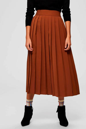 plissé rok bruin