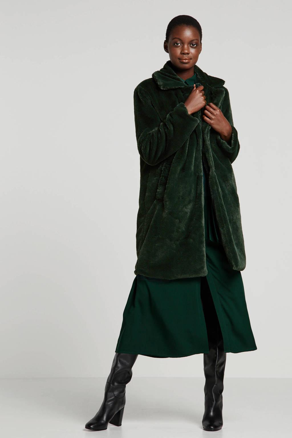 Wehkamp x NA-KD imitatiebont coat groen, Donkergroen