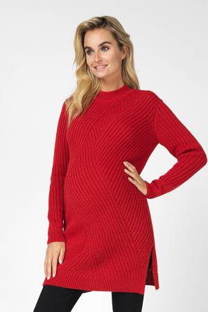 zwangerschapstrui Sabrina met textuur rood