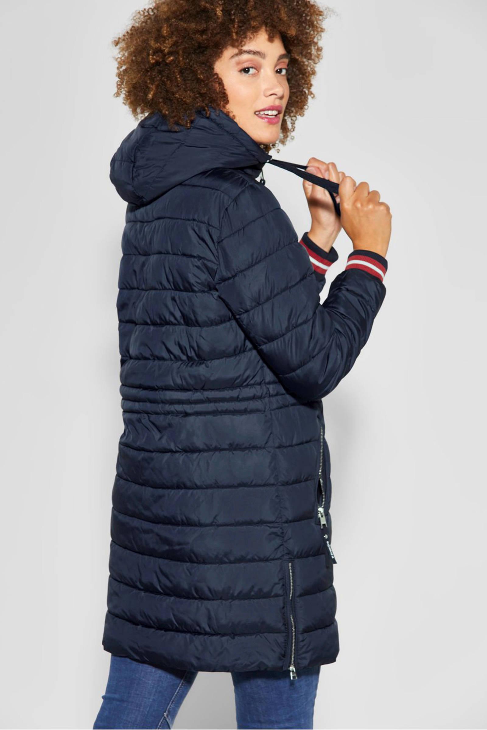 winterjas donkerblauwroodwit