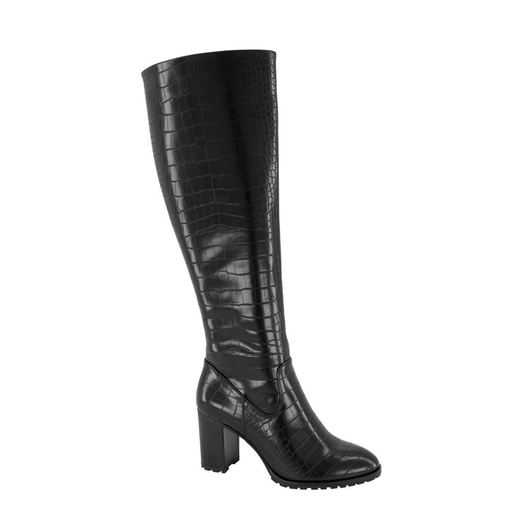 Graceland   laarzen crocoprint zwart, Zwart