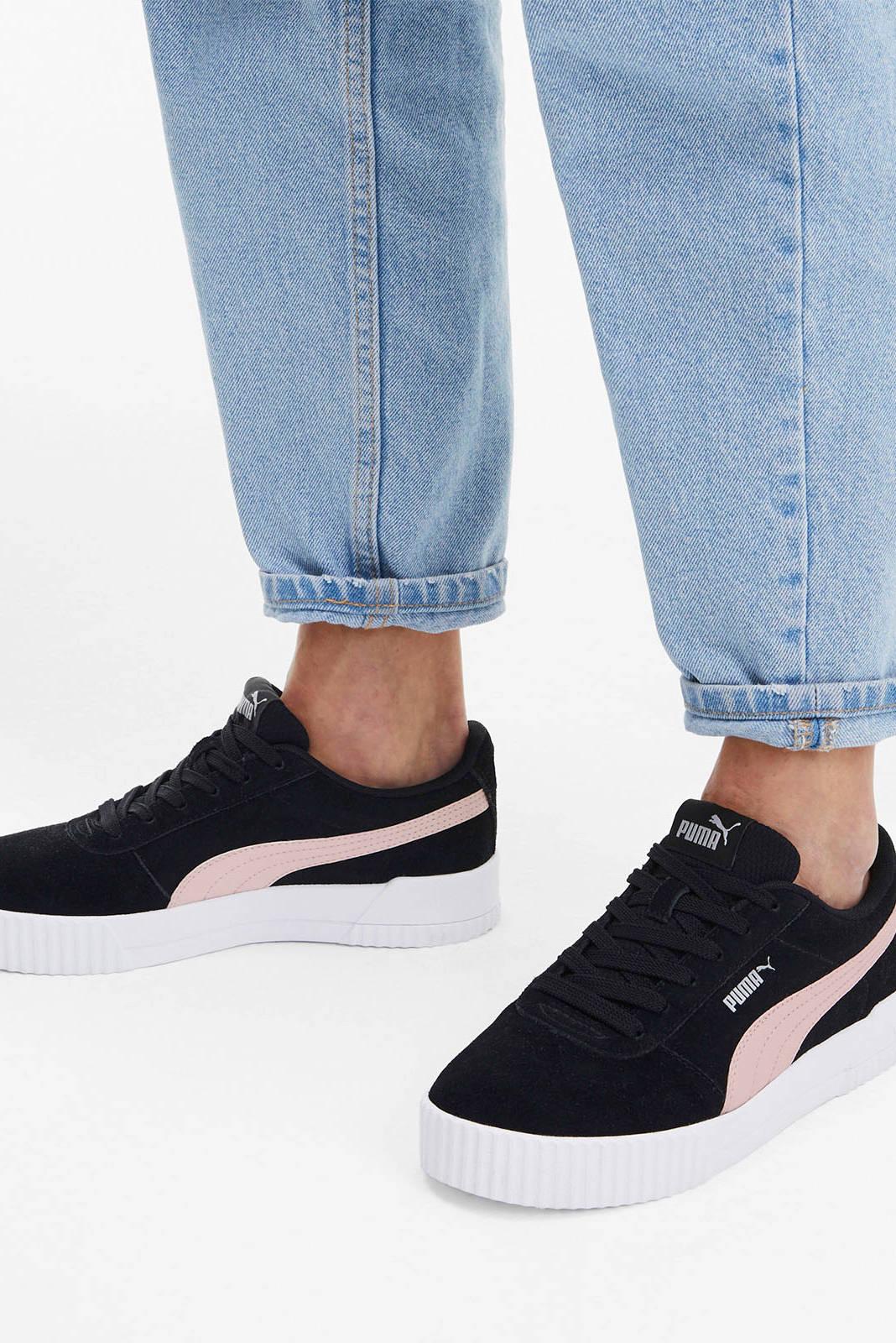 Puma Carina suède sneakers zwart/roze | wehkamp