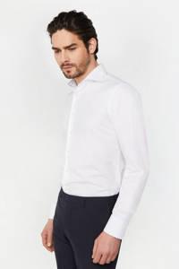 WE Fashion Van Gils slim fit overhemd white uni, White Uni - kraag: stip
