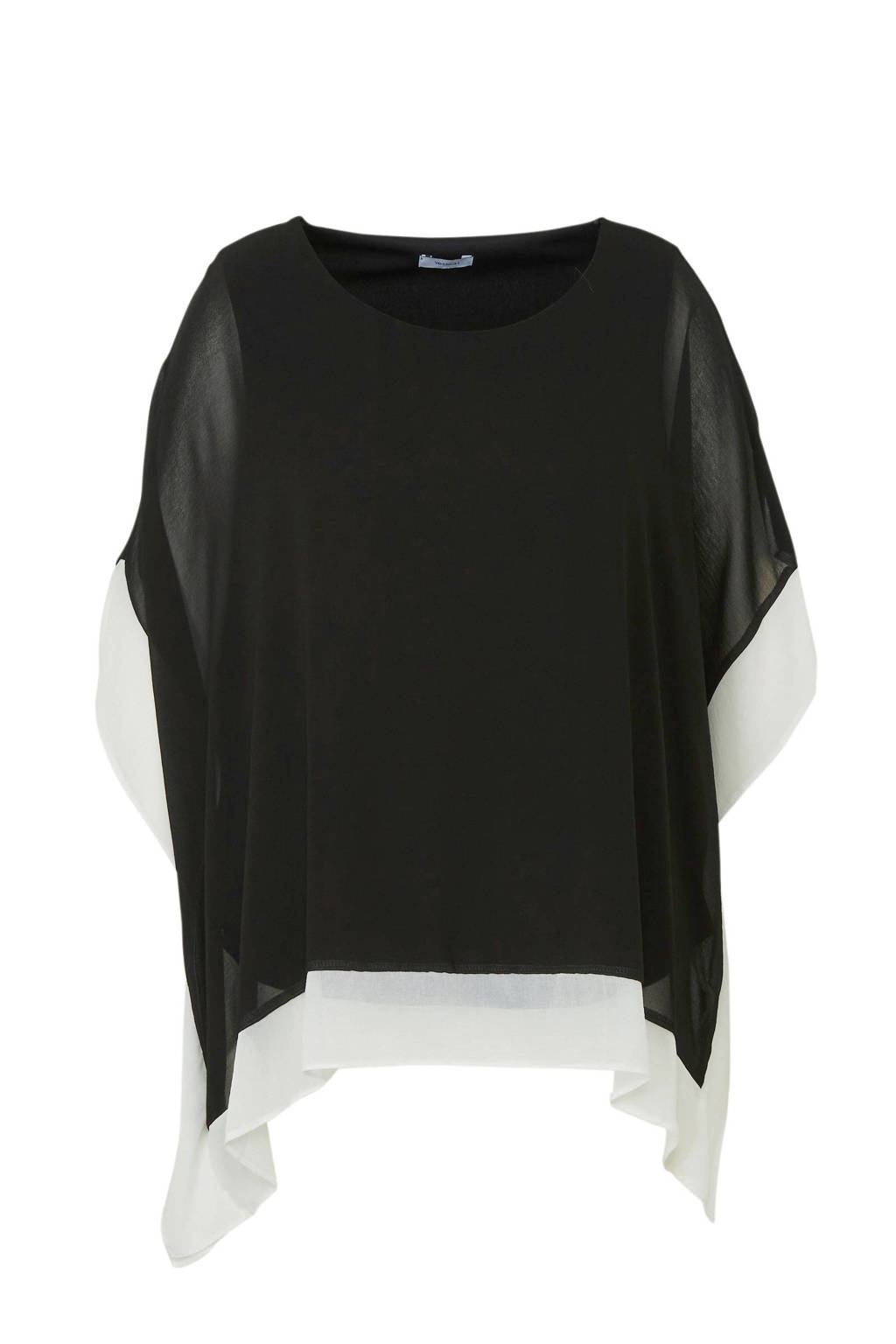 C&A XL Yessica top zwart/wit, Zwart/wit