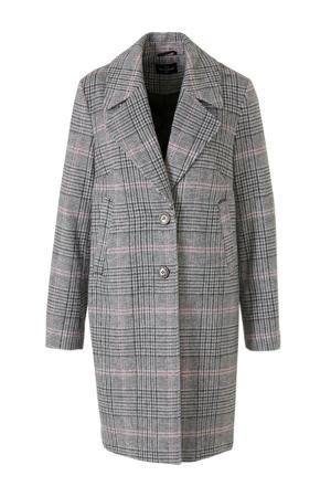 The Outerwear geruite winterjas grijs/roze
