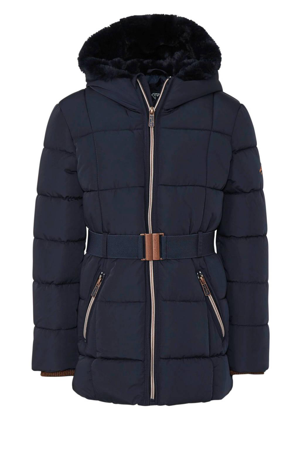 C&A Here & There winterjas met ceintuur donkerblauw, Donkerblauw