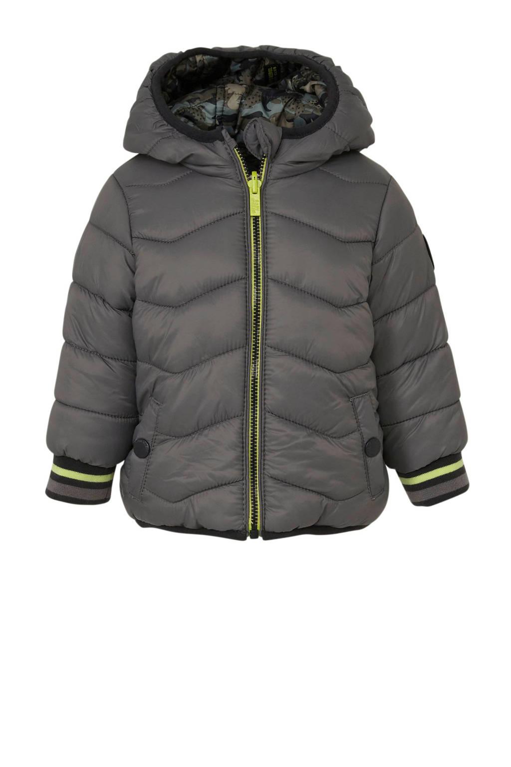 C&A Baby Club baby omkeerbare winterjas met camouflageprint grijs, Grijs