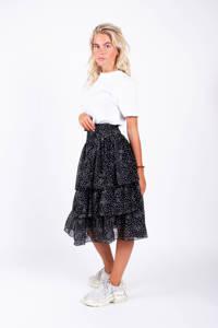 Colourful Rebel rok met stippen en volant zwart, Zwart