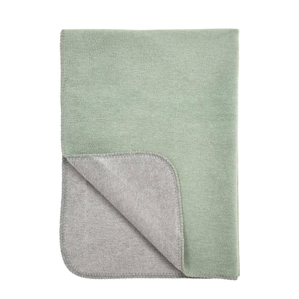 Meyco wiegdeken 75x100 cm double face stone green/grijs, Stone Green/Grijs