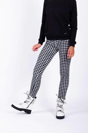 geruite legging Jonie zwart/wit
