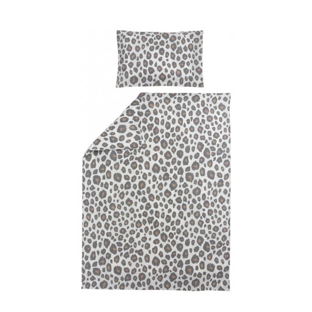 Meyco katoenen Panter dekbedovertrek junior bed 120x150 cm neutral, Zand/grijs