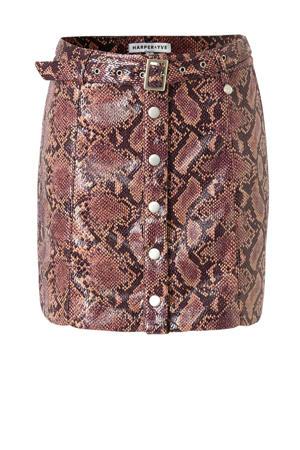 A-lijn rok Yael met slangenprint en ceintuur paars
