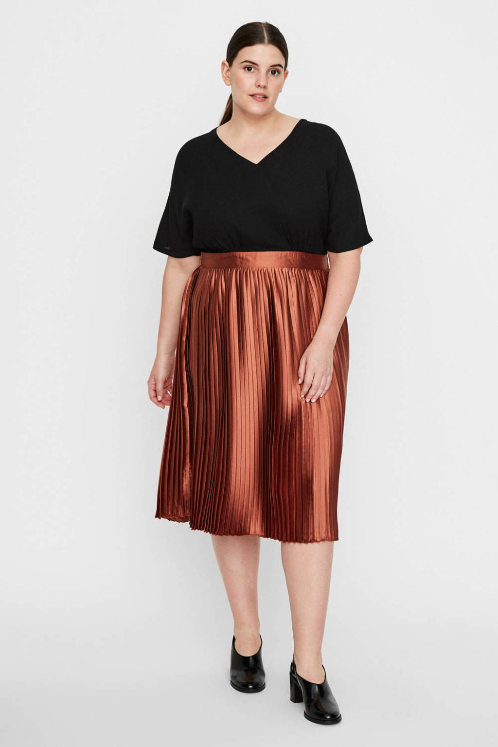 I.SCENERY jurk koper/zwart, Koper/zwart