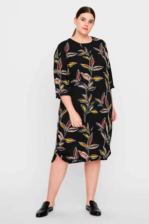 jurk met bladprint zwart