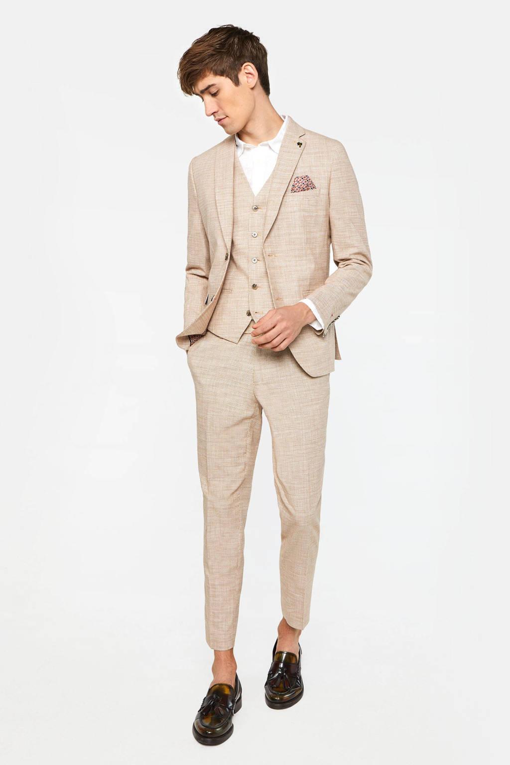 WE Fashion geruit slim fit colbert beige, Beige