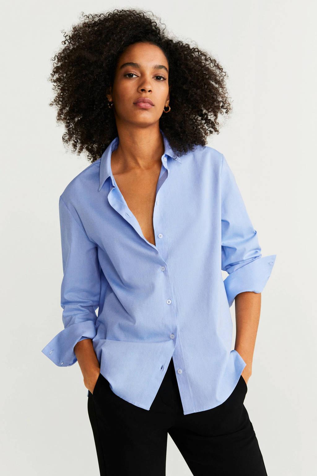 Mango blouse lichtblauw, Lichtblauw